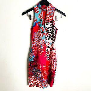 Bebe Animal Print Body Con Dress Sleeveless